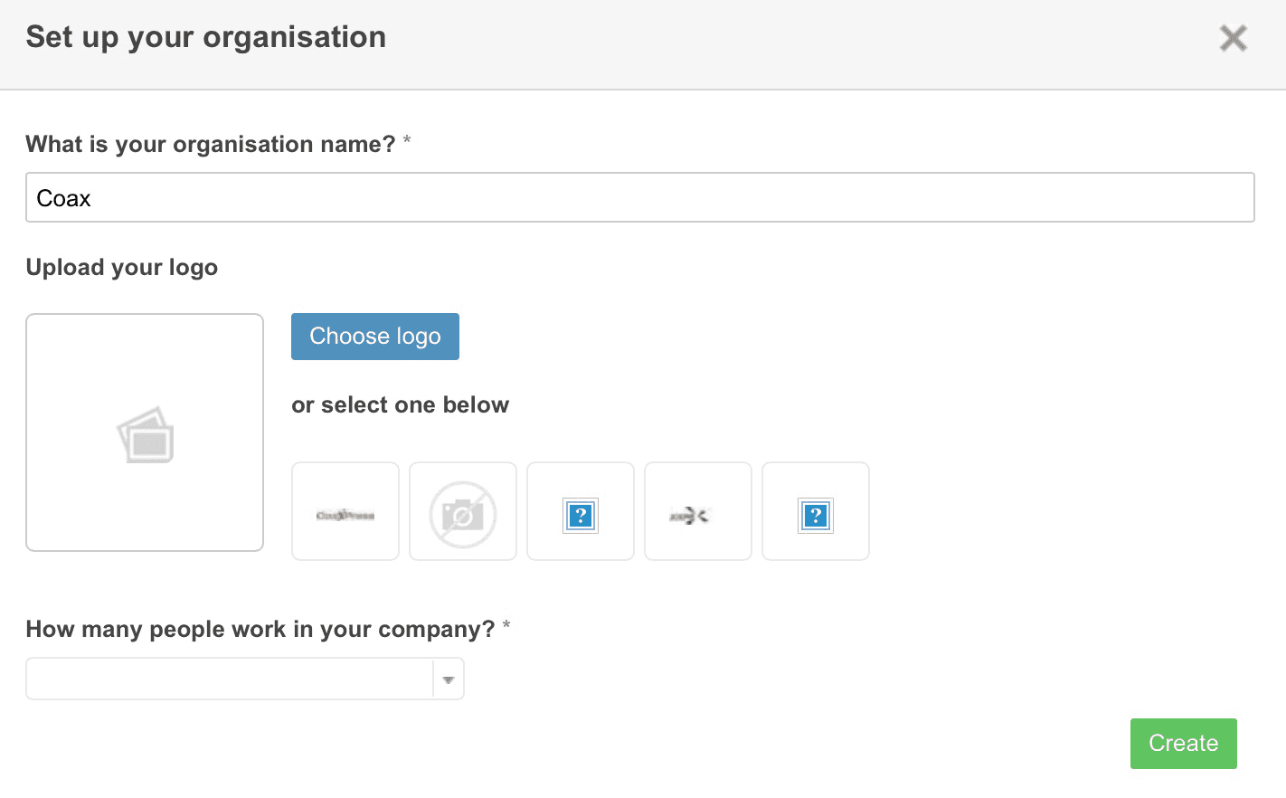 Image showing the required fields to set up a new organization