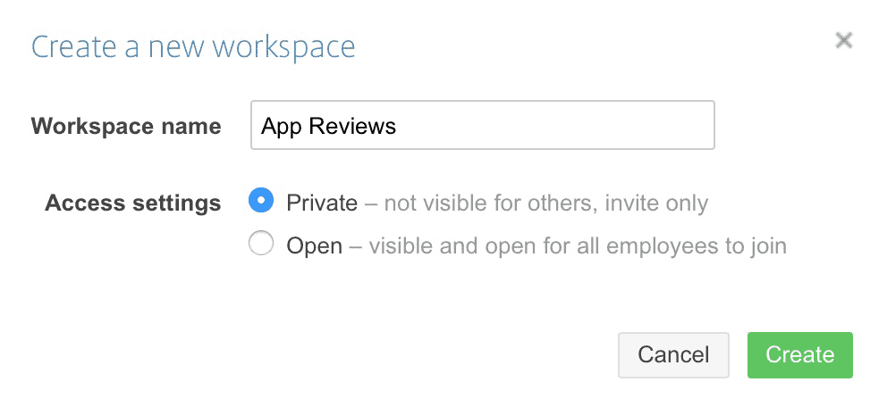 Image showing that to create a new workspace you need to enter a name for it and decide on whether it is a private or open workspace
