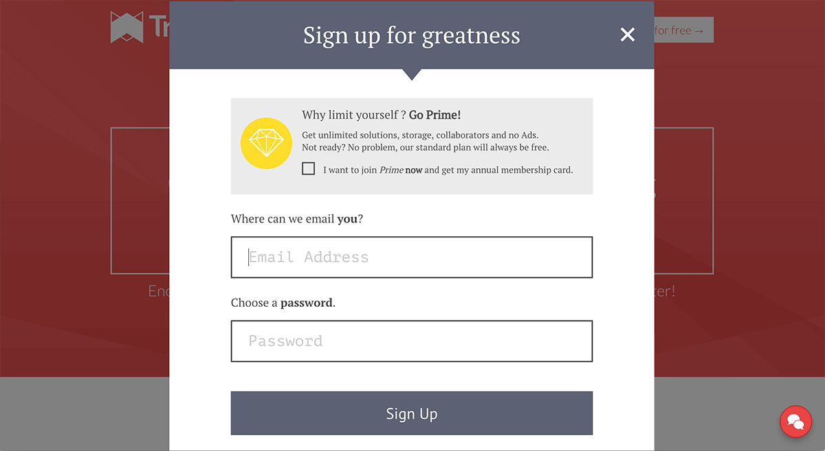 A screenshot of the Transpose signup window.