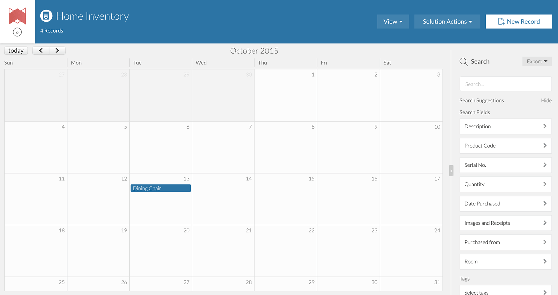 A screenshot of Transpose's calendar view.