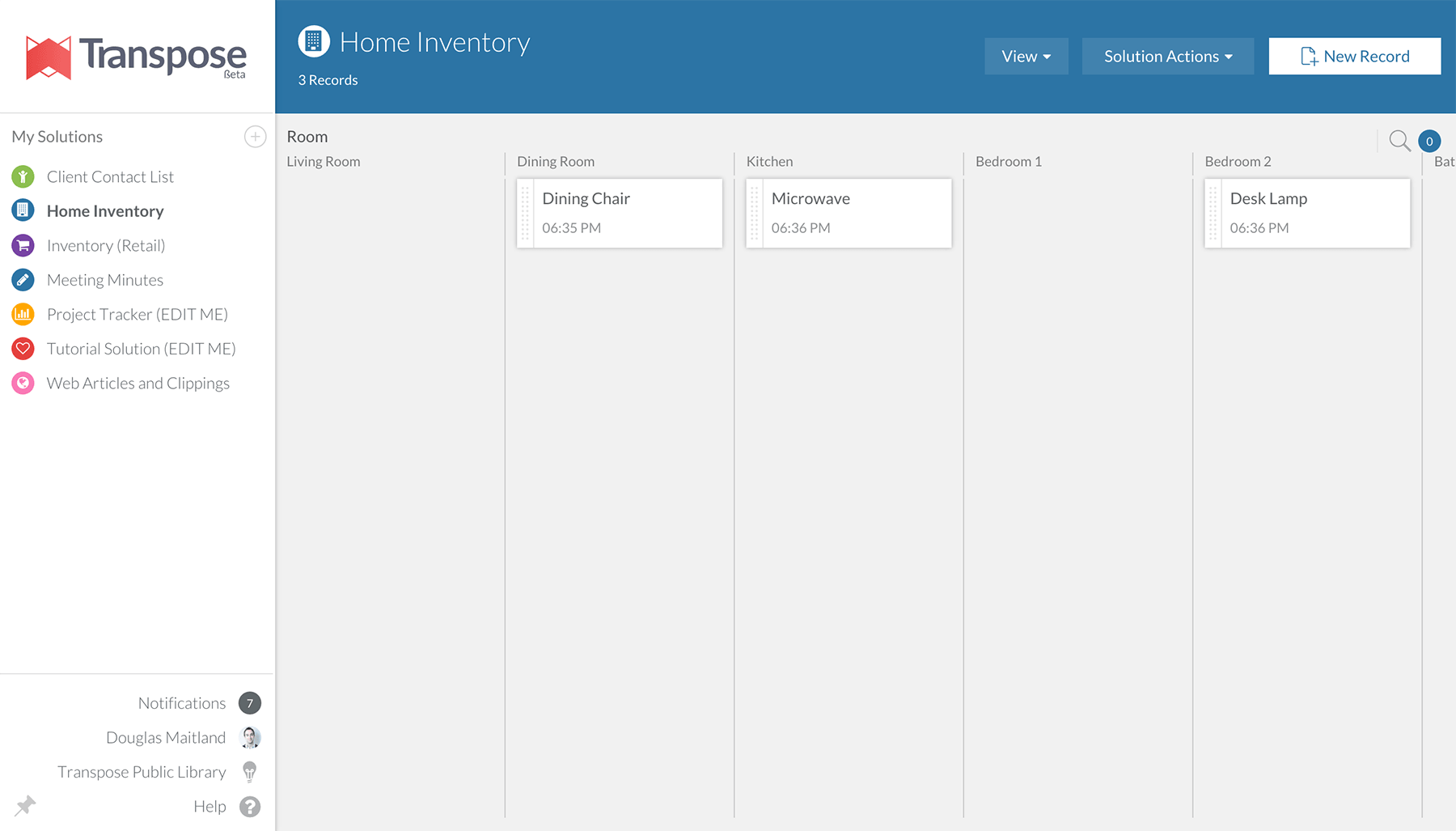 A screenshot of Transpose's kanban view.
