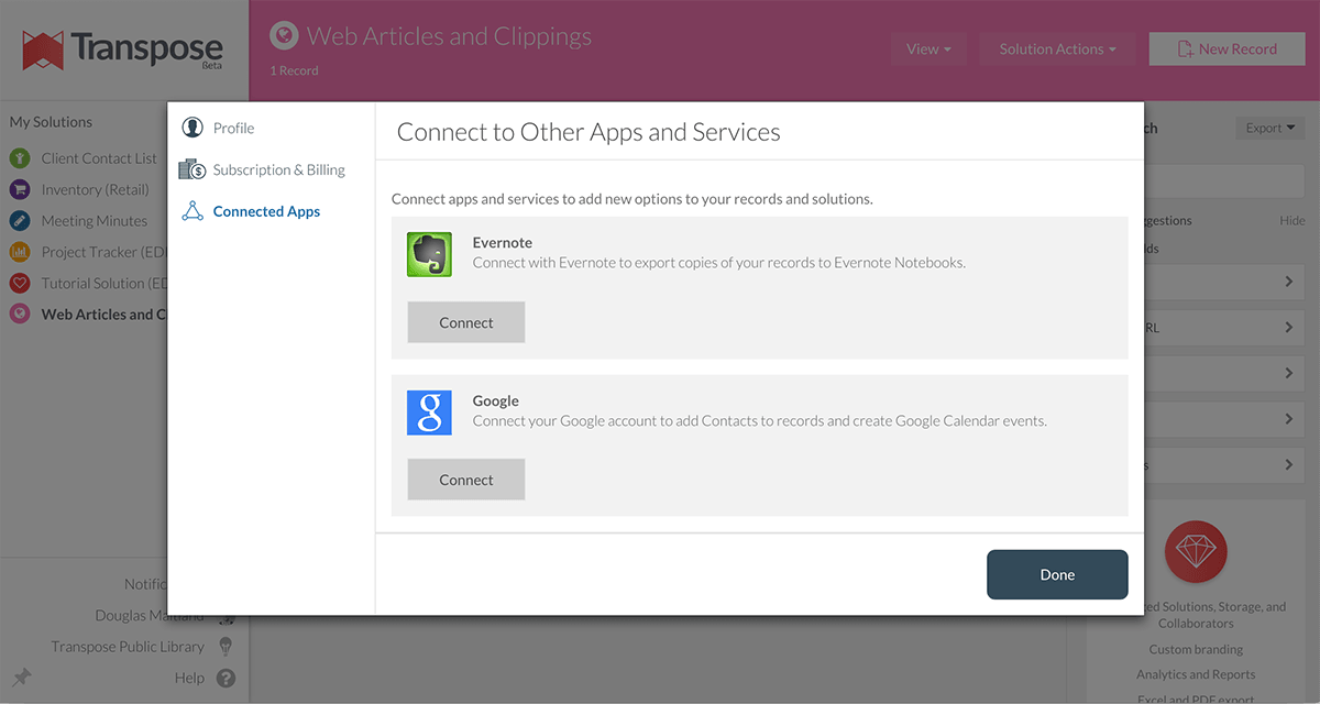Screenshot of Transpose's integration options.