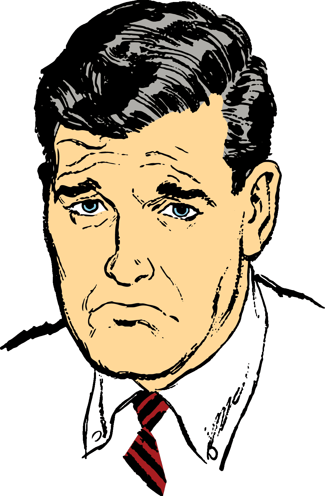 Illustration of a white business man's face with a pouting expression